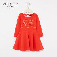 【1件2折到手价:69.8】米喜迪mecity童装春新款女童手指爱心造型长袖红色连衣裙