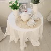 桌布布艺纯白色餐桌茶几酒店西餐会议台布长方形圆桌桌垫拍照背景 雪白(带褶子边)