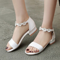 大童平底凉鞋女夏季中小学生韩版小女孩花朵公主鞋
