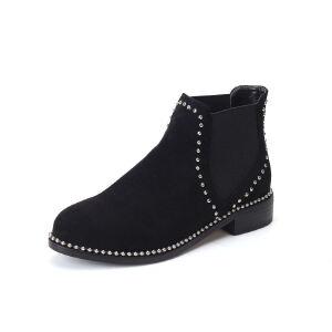 WARORWAR法国新品YG12-L03-14冬季欧美牛皮真皮低跟铆钉女士靴子马丁靴短靴