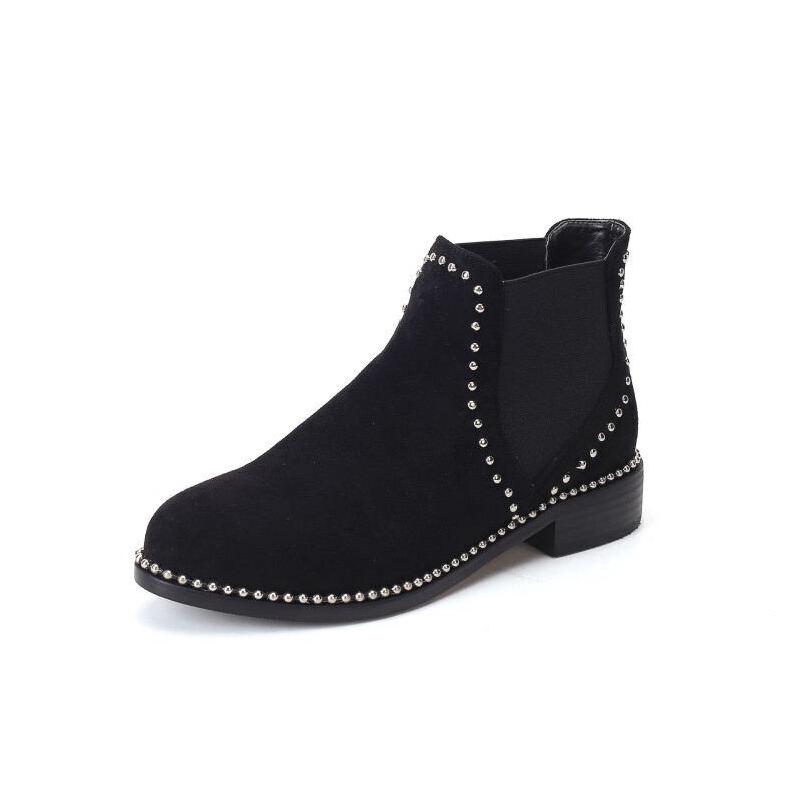 WARORWAR法国新品YG12-L03-14冬季欧美牛皮真皮低跟鞋铆钉女鞋潮流时尚潮鞋百搭潮牌靴子马丁靴短靴