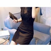夏装2018时尚性感修身背心裙气质夜店女装镂空花朵蕾丝连衣裙