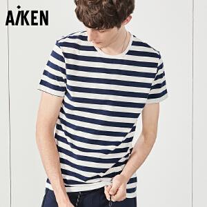 森马旗下Aiken短袖T恤男士夏装新款条纹海魂衫圆领男式欧美潮海军体恤