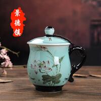 景德镇陶瓷杯带盖手绘茶杯套装家用办公会议杯个人马克水杯子礼品