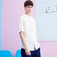 【1件4折到手价:47.6】美特斯邦威衬衫短袖男装夏季新款白棉麻七分袖衬衣
