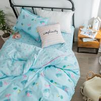 ???全棉单人床单三件套学生宿舍被套1.2m纯棉儿童上下铺床上用品 全工艺 沁蓝-栖园