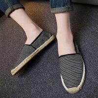 夏季透气帆布鞋一脚蹬懒人鞋休闲男鞋渔夫鞋子