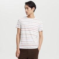 【1件2.5折到手价:47.5】MECITY男装春秋圆领横条纹纯棉短袖T恤
