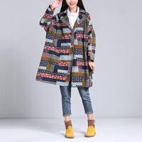 秋民族风女装棉麻开衫超大风衣外套印花宽松显瘦中长款250斤胖mm