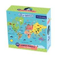 Our World Jumbo Puzzle 英文原版 25块超大拼图:世界地图 儿童启蒙益智玩具 进口礼品