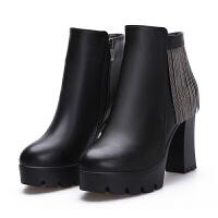 皮鞋冬短靴子加厚加绒粗跟高跟鞋真皮防水台马丁靴英伦棉鞋女皮靴 99-1流苏 加绒内里