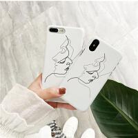 iPhonex手机壳个性女款6s简约创意8x半包硬壳苹果7plus保护套潮男 iPhone X 抽象线条头像