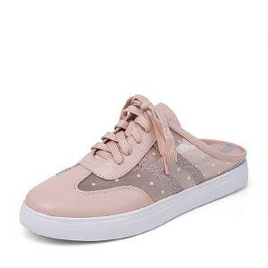 Teenmix/天美意2018夏专柜同款撞色平跟小白鞋后空女凉鞋6W734BH8