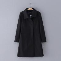 736 女装 冬季新款纯色修身翻领中长款长袖女式外套毛呢大衣