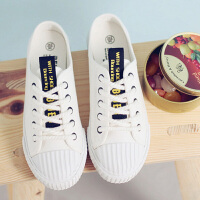 【支持礼品卡支付】夏季新款帆布鞋包头半拖鞋女无后跟系带休闲女式小白鞋 BE-6921
