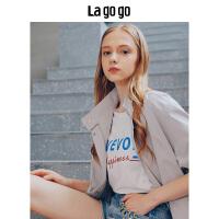 【清仓3折价179.7】Lagogo2019夏季新款灰色上衣 束腰中长款显瘦外套长袖立领风衣女HAFF233Y28