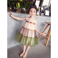 女童连衣裙 夏装新款韩版洋气网纱蓬蓬裙 小女孩公主装背心裙
