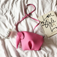 Race2018夏季新款 少女粉色头层牛皮小象包 单肩斜跨真皮女包小包 蜜桃粉