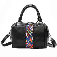 女手提包包女2017新款时尚大气个性大容量真皮女包斜跨羊皮单肩包SN1126 黑色 收藏*品