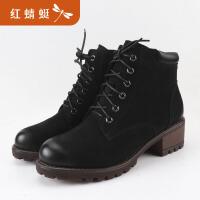红蜻蜓秋冬新款韩版马丁靴女短筒粗跟保暖棉鞋加绒短靴