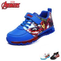 迪士尼disney童鞋漫威英雄儿童运动鞋男童休闲鞋缓震防滑天鹅绒闪灯鞋 (5-10岁可选)