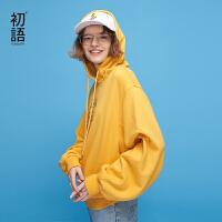 初语2018春装新款 连帽字母刺绣宽松长袖多色套头字母卫衣女上衣