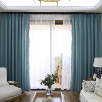 湖加厚亚麻窗帘成品欧式简约卧室客厅窗帘遮光布 湖蓝色 280cm