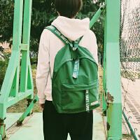 韩国复古字母书包双肩包学生印刷学院原宿女旅行情侣纯色小背包