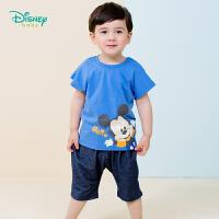 迪士尼Disney童装 男孩肩开短袖套装夏季新品米奇印花短袖针织仿牛仔短裤192T906