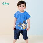 【2.2折价:43.8】迪士尼Disney童装 男孩肩开短袖套装夏季新品米奇印花短袖针织仿牛仔短裤192T906