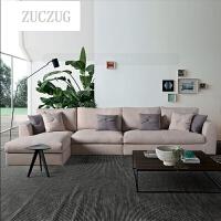 ZUCZUG美式乡村布艺沙发简约高端欧式田园小户型客厅可拆洗转角沙发组合