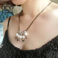 皇家莎莎 毛衣项链颈链日韩国版夸张仿水晶配饰品情人节礼物送女友