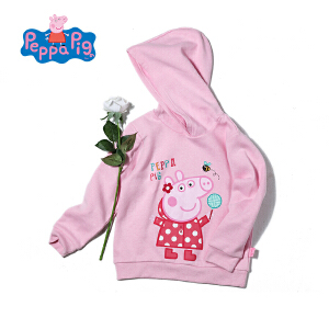 小猪佩奇童装女童秋装春季新款卡通印花套头长袖连帽卫衣女宝宝上衣