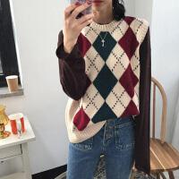 2018韩国春装复古菱形格子套头毛衣女无袖针织衫马甲背心学生 均码
