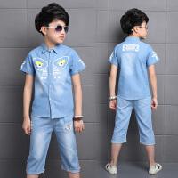 男童夏装新款套装儿童装男孩夏季衣服中大童牛仔短袖两件套潮
