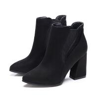 2018秋冬季新款短筒马丁靴潮女短靴高跟粗跟尖头百搭加绒磨砂女靴真皮 黑色