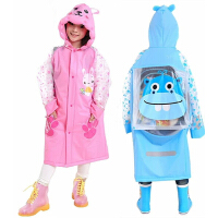 儿童雨衣女童幼儿园男童小学生防水带书包位中大童卡通雨披公主