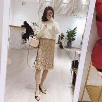 镂空半身裙春装时尚中长款裙子女2018新款高腰蕾丝包臀裙潮