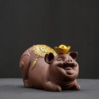 装饰挂件摆件中式创意紫砂摆件大号可爱猪 办公室客厅家居陶瓷工艺品装饰
