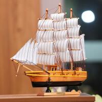 一帆风顺帆船摆件手工木质船模型欧式家居客厅书房办公室工艺品装饰摆设