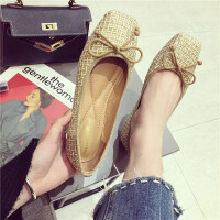 复古风方头单鞋女平底鞋舒适百搭韩版蝴蝶结编织女鞋芭蕾舞鞋