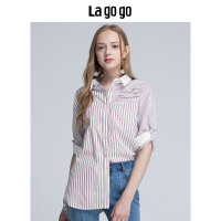 Lagogo/拉谷谷2019年夏季新款时尚学院风翻领印花衬衫HACC324F26
