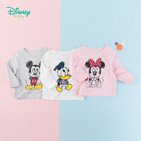 【2件3.5折到手价:34.3】迪士尼Disney童装米老鼠印花长袖T恤唐老鸭卡通印染上衣秋季纯棉打底衫193S123