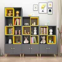北欧书柜简约儿童书架落地实木简易客厅省空间组合书橱储物柜子