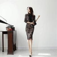 连衣裙2018夏季新品名媛蕾丝修身时尚打底铅笔裙一件 黑色