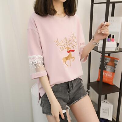 女装夏季新款印花套头圆领小鹿纯棉蕾丝短袖T恤七分袖薄款外搭潮