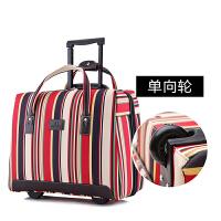 20180508004641602超轻便手提旅行拉杆包条纹牛津布男女旅游包行李箱登机箱16寸18寸 红宽条(单向轮 终