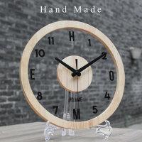 钟表挂钟客厅创意个性圆形现代简约静音北欧艺术透明实木挂表卧室 +支架套装