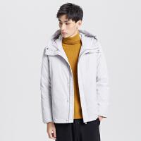 【2件2.5到手价:235】MECITY男装冬季新款轻薄保暖羽绒服连帽短款韩版外套