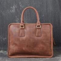 新款男士手提电脑包包女士疯马皮单肩斜跨公文包时尚男包 复古棕